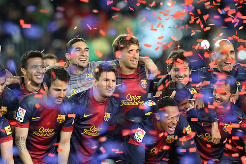 19.05.2013 Barcelona, Spain. Barcelona's players during the celebration of the league championship 2012/13 at the Nou Camp