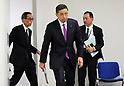 November 17, 2017, Yokohama, Japan - Japanese automobile giant Nissan Motor president Hiroto Saikawa enters a conference room to speak before press as the company has been carrying out flawed inspections of their vehicles at the Nissan headquarters in Yokohama, suburban Tokyo on Friday, November 17, 2017. Saikawa and other company executives will return their pay following the final vehicle inspections scandal.     (Photo by Yoshio Tsunoda/AFLO) LWX -ytd-