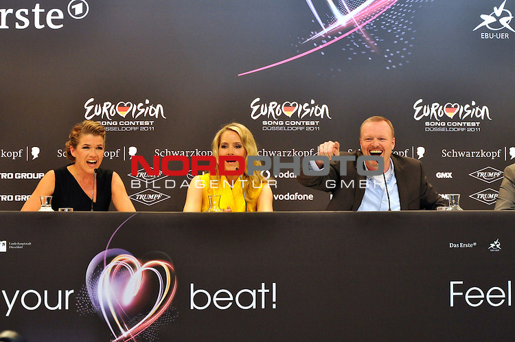 09.05.2011, ESPRIT Arena, Duesseldorf, GER, Eurovision Song Contest 2011, Press Conference, im Bild Anke Engelke, Judith Rakers and Stefan Raab during the press conference of the presenters of the Eurovision Song Contest 2011 at ESPRIT Arena, Duesseldorf <br />  . Foto &copy; nph / Images *** Local Caption ***