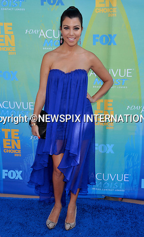"KOURTNEY KARDASHIAN.attends the Teen Choice 2011 at the Gibson Amphitheatre, Universal City, California_07/08/2011.Mandatory Photo Credit: ©Crosby/Newspix International. .**ALL FEES PAYABLE TO: ""NEWSPIX INTERNATIONAL""**..PHOTO CREDIT MANDATORY!!: NEWSPIX INTERNATIONAL(Failure to credit will incur a surcharge of 100% of reproduction fees).IMMEDIATE CONFIRMATION OF USAGE REQUIRED:.Newspix International, 31 Chinnery Hill, Bishop's Stortford, ENGLAND CM23 3PS.Tel:+441279 324672  ; Fax: +441279656877.Mobile:  0777568 1153.e-mail: info@newspixinternational.co.uk"