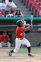 Jamal Austin #3 of the High Desert Mavericks bats against the Modesto Nuts at Stater Bros. Stadium on June 29, 2013 in Adelanto, California. Modesto defeated High Desert, 7-2. (Larry Goren/Four Seam Images)