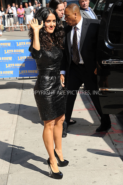 WWW.ACEPIXS.COM . . . . . <br /> July 10, 2013...New York City<br /> <br /> Salma Hayek Pinault leaving the Late Show with David Letterman on July 10, 2013  in New York City.<br /> <br /> Please byline: Kristin Callahan - ACEPIXS.COM.. . . . . . ..Ace Pictures, Inc: ..tel: (212) 243 8787 or (646) 769 0430..e-mail: info@acepixs.com..web: http://www.acepixs.com