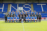St Johnstone FC 2014-2015 Season Photocall..15.08.14<br /> Back row from left, Brian Easton, Steven Anderson, Murray Davidson, Tom Scobbie, Liam Caddis, Gary McDonald, Gareth Rodger and Gary Miller.<br /> Middle row from left, Alistair Stevenson (Youth Dev Manager), Ewan Peacock (Chief Scout), George Browning (Youth Dev GK Coach), Colin Leavy (Sports Scientist), Chris Kane, Steve Banks, Alan Mannus, Zander Clark, Dylan Easton, Alec Cleland (First Team Coach), Michael McBride (Physio), Alan Lochtie (Asst Physio) and Tommy Campbell (Kit Manager).<br /> Front row from left, Adam Morgan, Chris Millar, Steven MacLean, Dave Mackay (Captain), Tommy Wright (Manager), Callum Davidson (Asst Manager), Frazer Wright (Vice-Captain), David Wotherspoon, Lee Croft and Michael O'Halloran.<br /> Picture by Graeme Hart.<br /> Copyright Perthshire Picture Agency<br /> Tel: 01738 623350  Mobile: 07990 594431