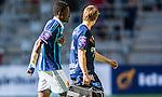 Stockholm 2014-04-27 Fotboll Allsvenskan Djurg&aring;rdens IF - IF Brommapojkarna :  <br /> Djurg&aring;rdens Daniel Amartey h&aring;ller sig f&ouml;r br&ouml;stet n&auml;r han g&aring;r av planen efter att ha skadat sig i den f&ouml;rsta halvleken<br /> (Foto: Kenta J&ouml;nsson) Nyckelord:  Djurg&aring;rden DIF Tele2 Arena Brommapojkarna BP skada skadan ont sm&auml;rta injury pain
