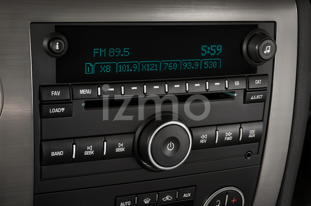 Stereo audio system close up detail view of a 2008 Hummer H2 SUT