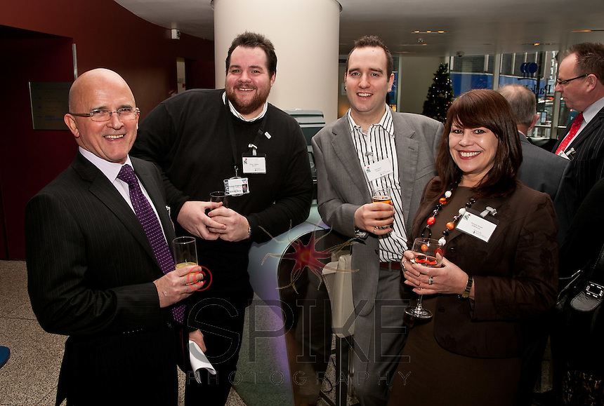 Relaxing with a drink - from left, Steve Cornish of Steve Cornish Solutions, Damian Chapman of Base 51, Mark Joyner of Gossama and Amanda Howell of Sure24