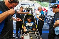 Jun 18, 2017; Bristol, TN, USA; Crew members with NHRA top fuel driver Shawn Langdon during the Thunder Valley Nationals at Bristol Dragway. Mandatory Credit: Mark J. Rebilas-USA TODAY Sports