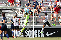 Cary, North Carolina  - Saturday July 01, 2017: Katelyn Rowland catches the ball under pressure from Maya Hayes during a regular season National Women's Soccer League (NWSL) match between the North Carolina Courage and the Sky Blue FC at Sahlen's Stadium at WakeMed Soccer Park. Sky Blue FC won the game 1-0.