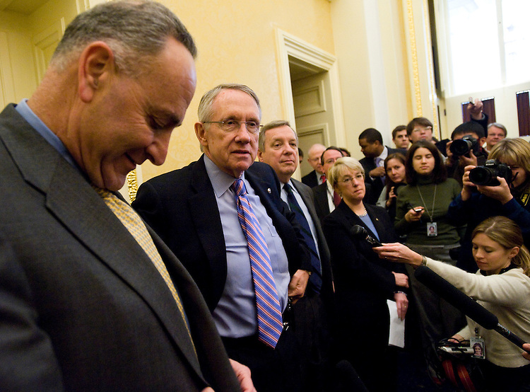 "WASHINGTON, DC - Jan. 29: Senate Democratic Conference Vice Chairman Charles E. Schumer, D-N.Y., Senate Majority Leader Harry Reid, D-Nev., Assistant Majority Leader Richard J. Durbin, D-Ill.., and Senate Democratic Conference Secretary Patty Murray, D-Wash., during a pen and pad session with reporters. Handing President Obama an initial victory on his first major legislative effort, the House passed an $819 billion economic stimulus bill Wednesday, setting the stage for Senate action -- and a flurry of lobbying -- on an even costlier measure next week. While House passage of the wide-ranging spending and tax break package (HR 1) was a substantive success for the new president, it was a bust in terms of his goal of garnering broad bipartisan support. Despite Obama's personal appeals to GOP lawmakers throughout the past week, not a single Republican supported the bill, which passed, 244-188. Eleven Democrats voted ""no."" (Photo by Scott J. Ferrell/Congressional Quarterly)"