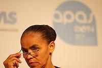 """SÃO PAULO, SP, 06.05.2014 - DEBATE COM A EX-MINISTRA MARINA SILVA - Marina Silva debate o Brasil que dá certo na Feira APAS Durante o 30º Congresso e Feira de Negócios em Supermercados, realizado pela Associação Paulista de Supermercados (APAS) no Expo Center Norte, a ex-ministra Marina Silva, discutiu a visão de um Brasil que deu certo diante do crescimento e desenvolvimento em diversos setores no painel """"O Brasil que dá certo"""", - (Foto: Aloisio Mauricio / Brazil Photo Press)"""