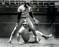Oakland A's Wayne Gross out at 2nd base against the kansas City Royals. Frank White standing (June 30,1983 photo by Ron Riesterer/photoshelter)