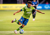 10th July 2020, Orlando, Florida, USA;  Seattle Sounders midfielder Cristian Roldan (7) runs with the ball During the MLS Is Back Tournament between the Seattle Sounders v San Jose Earthquakes on July 10, 2020 at the ESPN Wide World of Sports, Lake Buena Vista FL.