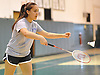 Stephanie Tavel of East Meadow serves during the Nassau County varsity girls badminton doubles final at Bellmore JFK High School on Saturday, May 14, 2016. She and doubles partner Rachel Polansky defeated Mia Froccaro and Megan Maley of Port Washington to win the county championship.