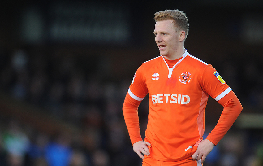 Blackpool's Callum Guy<br /> <br /> Photographer Kevin Barnes/CameraSport<br /> <br /> The EFL Sky Bet League One - AFC Wimbledon v Blackpool - Saturday 29th December 2018 - Kingsmeadow Stadium - London<br /> <br /> World Copyright © 2018 CameraSport. All rights reserved. 43 Linden Ave. Countesthorpe. Leicester. England. LE8 5PG - Tel: +44 (0) 116 277 4147 - admin@camerasport.com - www.camerasport.com