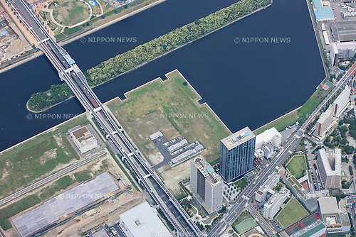 Ariake arena: Tokyo, Japan: Aerial view of proposed venue for the 2020 Summer Olympic Games. (Photo by AFLO)