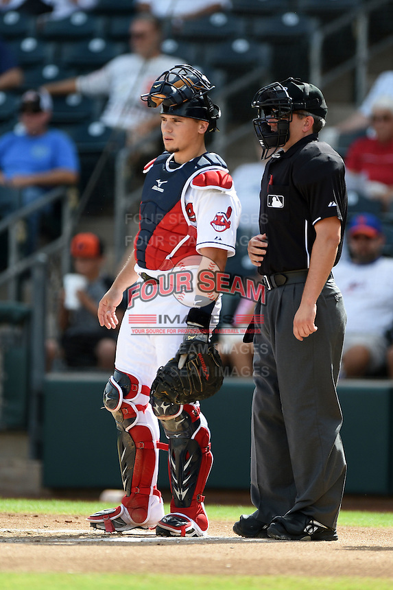 Peoria Javelinas catcher Tony Wolters (2) and umpire Greg Stanzak during an Arizona Fall League game against the Scottsdale Scorpions on October 18, 2014 at Surprise Stadium in Surprise, Arizona.  Peoria defeated Scottsdale 4-3.  (Mike Janes/Four Seam Images)