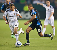 CARSON, CA – August 20, 2011: LA Galaxy defender Frankie Hejduk (6) and San Jose Earthquake defender Justin Morrow (15) during the match between LA Galaxy and San Jose Earthquakes at the Home Depot Center in Carson, California. Final score LA Galaxy 2, San Jose Earthquakes 0.