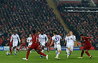 5th November 2019; Anfield, Liverpool, Merseyside, England; UEFA Champions League Football, Liverpool versus Genk; Alex Oxlade-Chamberlain of Liverpool finds space to shoot and score to give his team a 2-1 lead after 53 minutes - Editorial Use