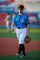 Hudson Valley Renegades Allen Smoot (6) warms up before a game against the Tri-City ValleyCats on August 24, 2018 at Dutchess Stadium in Wappingers Falls, New York.  Hudson Valley defeated Tri-City 4-0.  (Mike Janes/Four Seam Images)
