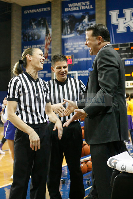 Head Coach Matthew Mitchell talks with the referees at the UK Women's Basketball game against LSU at Memorial Coliseum in Lexington, Ky., on Sunday, January 27, 2013. Photo by Tessa Lighty | Staff