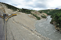 The Nenana river forms challenging rapids as it passes through a canyon. The Alaska Railroad's Denali Star train runs between Anchorage and Fairbanks, with Denali one of the stops along the way.