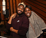 Grason Kingsberry and Alex Newell from cast of the Broadway revival of 'Once on This Island' in the recording studio for the new Broadway cast recording with Broadway Records at Power Station on December 21, 2017 in New York City.