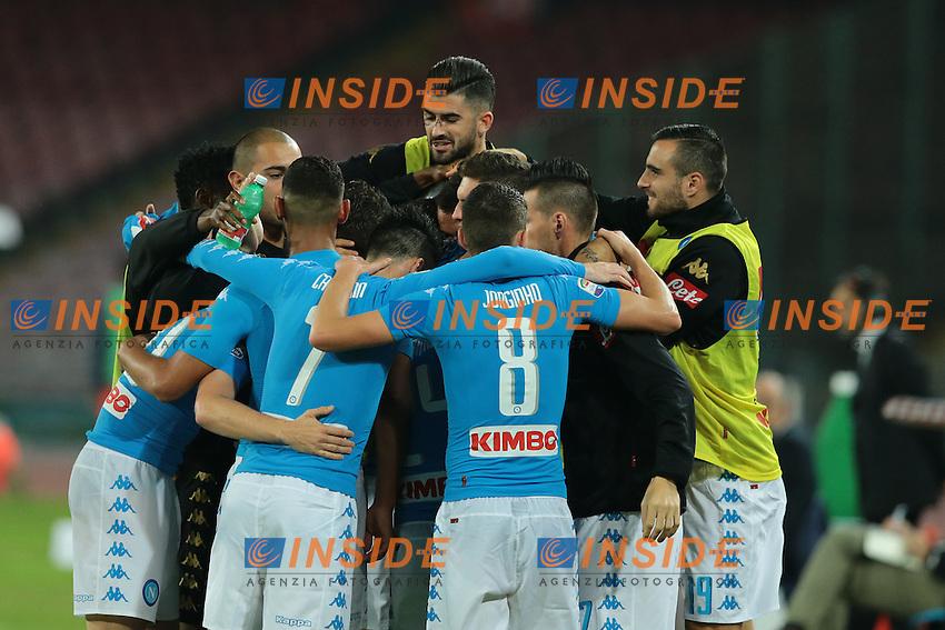 Esultanza dopo il gol di Dries Mertens Napoli, goal celebration<br /> Napoli 26-10-2016  Stadio San Paolo <br /> Campionato Serie A Napoli - Empoli<br /> Foto Cesare Purini / Insidefoto