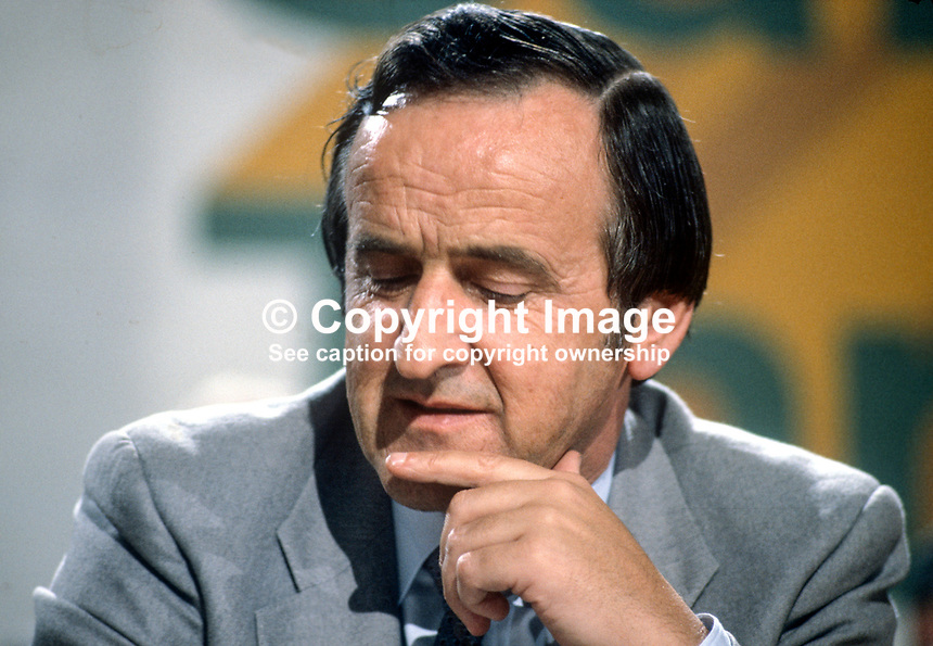 Albert Reynolds, TD, Minister for Posts, Telegraphs & Transport, Rep of Ireland, on platform at Fianna Fail Ard Fheis. 198102000026AR1..Copyright Image from Victor Patterson, 54 Dorchester Park, Belfast, United Kingdom, UK...For my Terms and Conditions of Use go to http://www.victorpatterson.com/Victor_Patterson/Terms_%26_Conditions.html