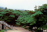 So. Korea: Kyong-Ju--Bulgug-sa Temple. Lush grounds. Photo '81.