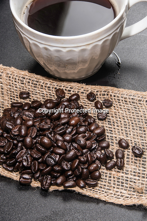 Stock Photo of Coffee Cup and Beans