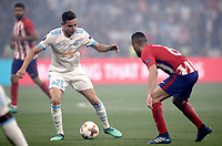Olympique de Marseille's Florian Thauvin, left, is challenged by Club Atletico de Madrid's Koke during the UEFA Europa League final football match between Olympique de Marseille and Club Atletico de Madrid at the Groupama Stadium in Decines-Charpieu, near Lyon, France, May 16, 2018.<br /> UPDATE IMAGES PRESS/Isabella Bonotto