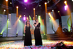 Mira Awad(r),  an Israeli Arab singer and actress and Ahinoam Nini, an Israeli singer, are seen on stage at the Israeli National TV studio, March 2nd, 2009. Awad and Nini were chosen to represent Israel at the 2009 Eurovision together. Photo By : Emil Salman / JINI....
