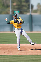 Oakland Athletics infielder Richie Martin (8) during Spring Training Camp on February 24, 2018 at Lew Wolff Training Complex in Mesa, Arizona. (Zachary Lucy/Four Seam Images)