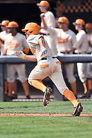 Tennessee Volunteers third baseman Nick Senzel (13) runs to first during game one of a double header against the UC Irvine Anteaters at Lindsey Nelson Stadium on March 12, 2016 in Knoxville, Tennessee. The Volunteers defeated the Anteaters 14-4. (Tony Farlow/Four Seam Images)