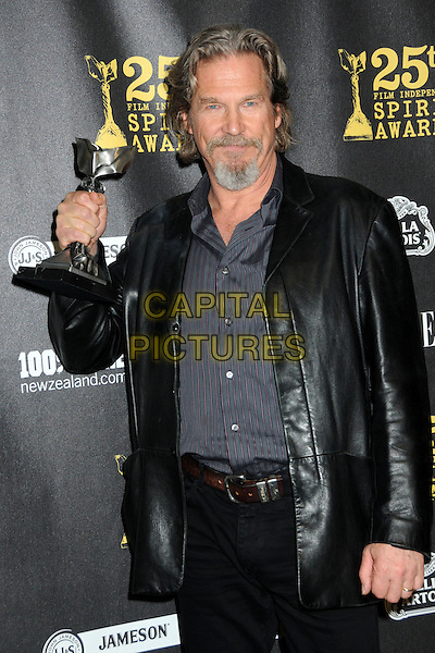 JEFF BRIDGES .25th Annual Film Independent Spirit Awards - Press Room held at the Nokia Event Deck at L.A. Live, Los Angeles, California, USA, 5th March 2010..indie half length grey gray black leather jacket trophy award winner grey gray pinstripe suit beard goatee facial hair  .CAP/ADM/BP.©Byron Purvis/AdMedia/Capital Pictures.
