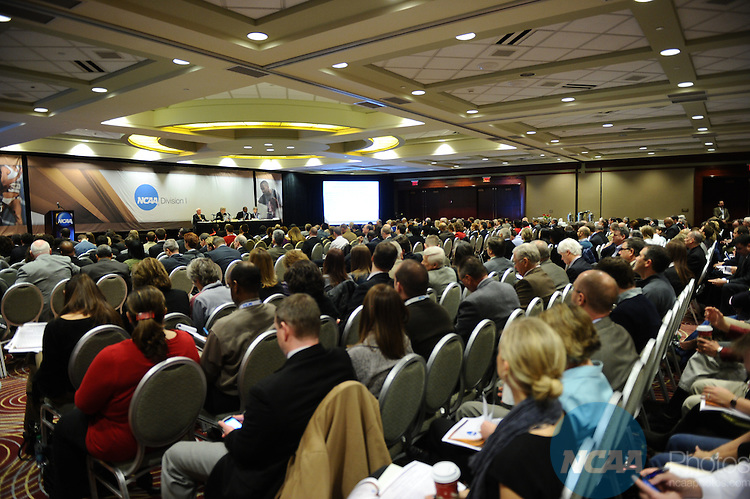 13 JAN 2012: The Status of Presidential Retreat Initiatives at the 2012 NCAA Convention held at the JW Marriott and Indianapolis Convention Center in Indianapolis, IN.  Stephen Nowland/NCAA Photos.Pictured: Mark Emmert
