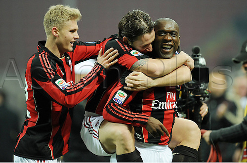 12 02 2011  Celebrations by Clarence Seedorf Milan After his Goal for Milano Stadio Meazza AC Milan versus Parma  Campionato Italiano Series A