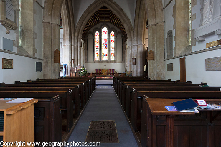 Early English architecture from the 13th century inside the church of Saint Mary, Potterne, Wiltshire, England, UK