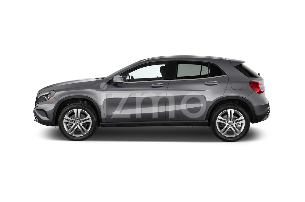 Driver Side Profile View of 2015 Mercedes Benz GLA-Class 250 5 Door SUV Stock Photo
