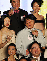 """HONG KONG - MARCH 22:  Hong Kong actor Jackie Chan (2nd row) and Chinese actresses Fan Bingbing (L) attend the Opening Ceremony of the 33rd Hong Kong International Film Festival and the Gala Premiere of the opening film """"Shinjuku Incident """" at the Hong Kong Convention and Exhibition Centre on March 22, 2009 in Hong Kong.  Photo by Victor Fraile / studioEAST"""