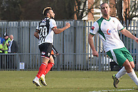 Nathan Arnold of Grimsby Town celebrates scoring their first goa during the FA Trophy Semi Final first leg match between Bognor Regis and Grimsby Town at Nyewood Lane, Bognor Regis, England on 12 March 2016. Photo by Paul Paxford/PRiME Media Images.