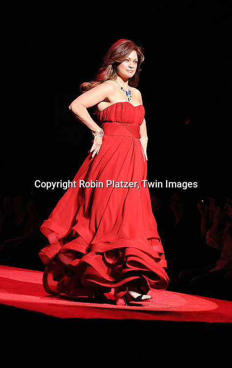 Valerie Bertinelli in Christian Soriano dress..at The Heart Truth's Red Dress Fashion Show on February 12, 2009 at Mercedes Benz FAshion Week. Swarovski was one of the sponsers for this show. ....Robin Platzer, Twin Images
