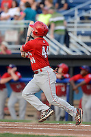 Auburn Doubledays catcher Matt Reistetter (44) hits his first professional home run during a game against the Batavia Muckdogs on August 27, 2013 at Dwyer Stadium in Batavia, New York.  Batavia defeated Auburn 9-3.  (Mike Janes/Four Seam Images)