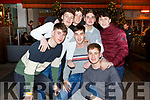 Eddie Galvin, Daithi McGuire, Aran Egan, Sean Griffin, Cronan Fitzgerald, Eddie Griffin, George Fitzgerald and Sean Hannafin enjoying New Years Eve in Tralee.