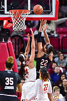 College Park, MD - NOV 13, 2017: South Carolina Gamecocks forward A'ja Wilson (22) score in the post over Maryland Terrapins forward Stephanie Jones (24) during match up between No. 4 ranked South Carolina and the No. 15 Maryland Terrapins at the XFINITY Center in College Park, MD. The Gamecocks defeated Maryland 94-86.  (Photo by Phil Peters/Media Images International)