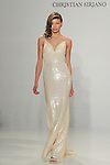Model walks runway in an ombré sequin slip gown, from the Christian Siriano for Kleinfeld bridal collection, at Kleinfeld on April 18, 2016 during New York Bridal Fashion Week Spring Summer 2017.