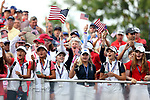 DES MOINES, IA - AUGUST 18: Tea USA Jr Solheim Cup players cheer on the players at the 2017 Solheim Cup in Des Moines, IA. (Photo by Dave Eggen/Inertia)