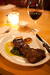 Laurelhurst Market where during the day a butcher shop offers fresh, all natural meats and at night, a full service restaurant featuring local, fresh ingredients. The grilled Piedmontese Skirt Steak with Chimichurri and roasted cippolini onions.