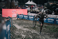 running man Mathieu van der Poel (NED/Corendon-Circus) <br /> <br /> Elite Men's race<br /> GP Sven Nys / Belgium 2018