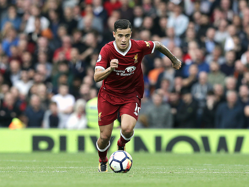 Liverpool's Philippe Coutinho<br /> <br /> Photographer Rich Linley/CameraSport<br /> <br /> The Premier League - Liverpool v Manchester United - Saturday 14th October 2017 - Anfield - Liverpool<br /> <br /> World Copyright &copy; 2017 CameraSport. All rights reserved. 43 Linden Ave. Countesthorpe. Leicester. England. LE8 5PG - Tel: +44 (0) 116 277 4147 - admin@camerasport.com - www.camerasport.com